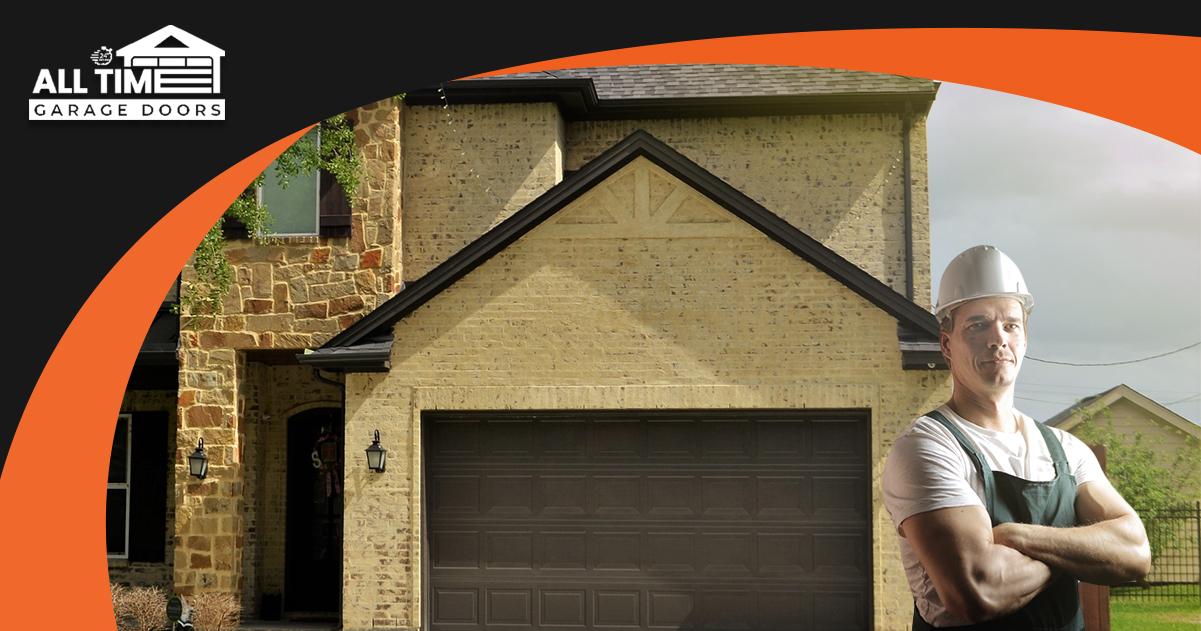 garage door repairman in front of garage door perth